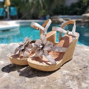 Born Women's Silver Flower Wedge Sandals